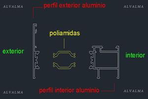 Explosión de perfil RPT para ventanas de aluminio y cerramientos